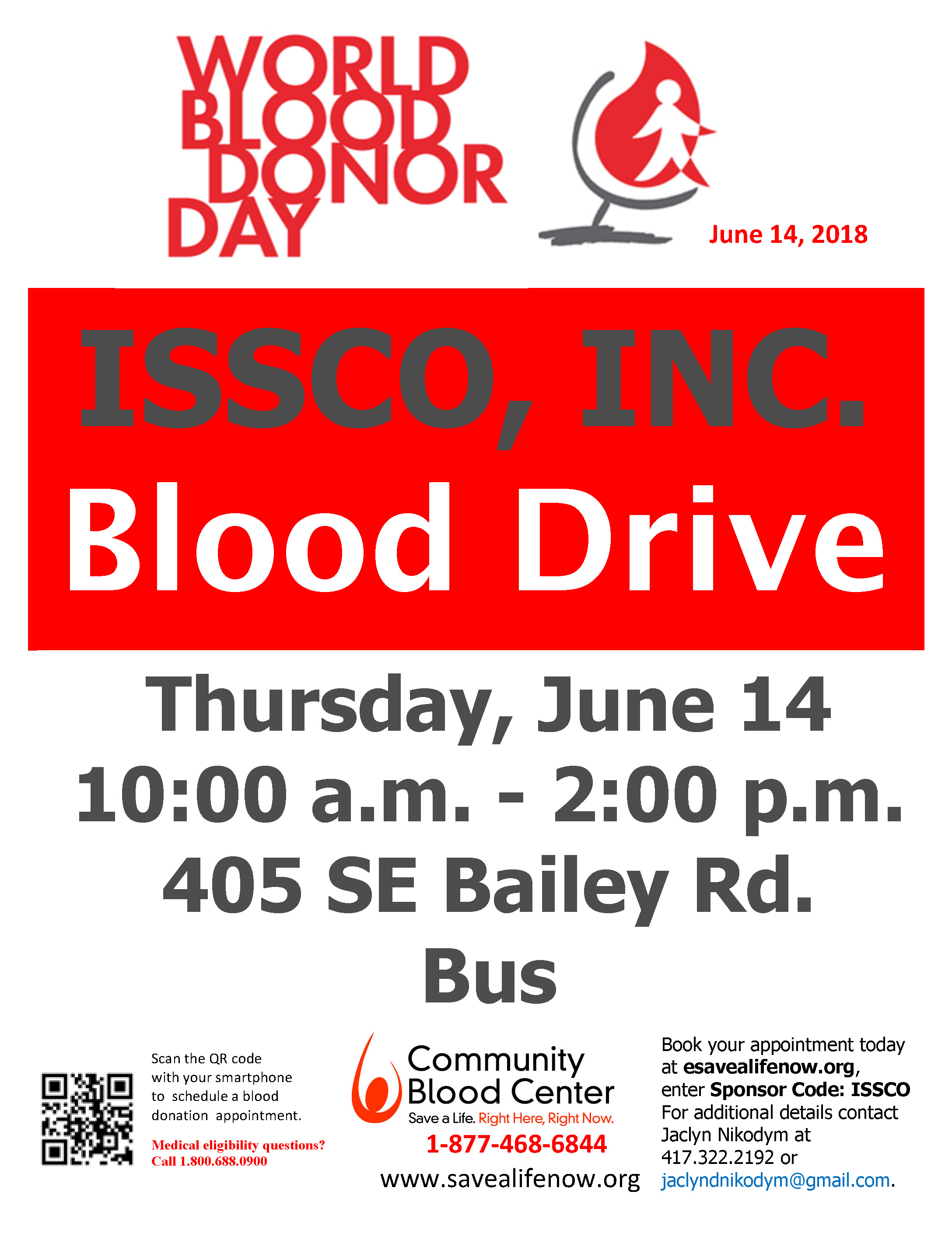 Blood Drive held at ISSCO in Honor of World Blood Donor Day